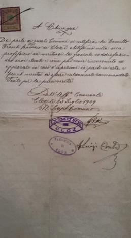 Certificato dell'abilità di artigiano di Camillo Franch